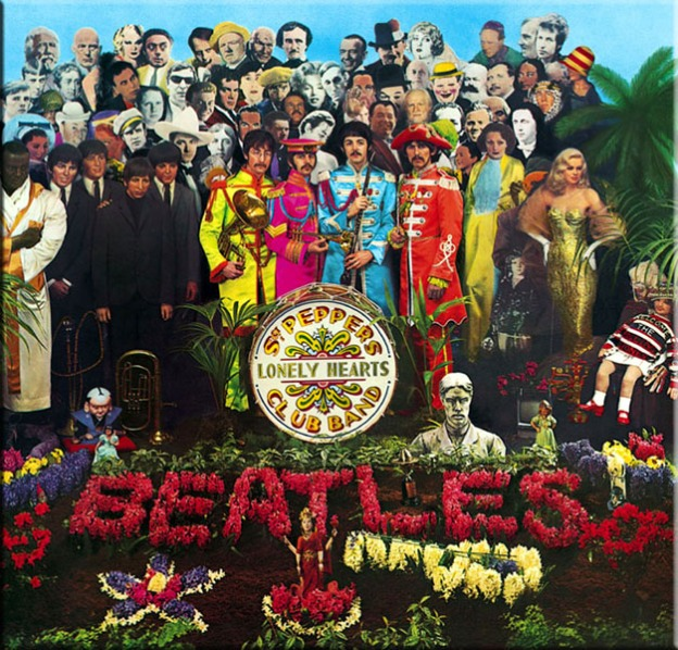 The cover of Sgt. Pepper's Lonely Hearts Club Band. The Beatles each wear a colorful military suit, in front of a crowd composed of cut outs and manniquins of celebrities. In front of the Beatles sits a bass drum that spells out the Sgt. Pepper's Lonely Hearts Cub Band name. In front of the bass drum is an arangement of flowers that spell out the Beatles and make other shapes. More description contained in the text below.